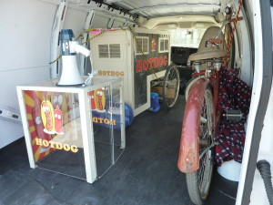 Rented hot dog cart, bike and other props on the way to set.