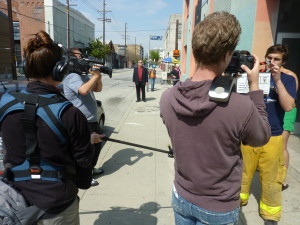 The Wyndotte Street cast and crew filming The Naked Man Comedy Series.