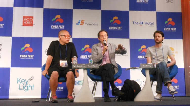 """How I Made My Web Series in Asia"" panel at K Web Fest, Seoul, Korea with Young Kim (moderator), Park Byunghwan (""Dream Knight""), Atsushi Ogata and Bob Werley (""Trick or Treat: I LOVE America!"") Photo by Melodie Everson © Globetrot Productions 2015"