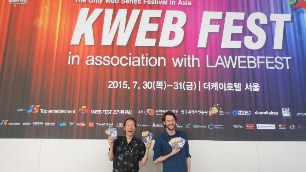 """Trick or Treat: I LOVE America!"" lands at K Web Fest, Seoul, Korea with writer-director Atsushi Ogata and actor Bob Werley Photo by Debora Paik © Globetrot Productions 2015."