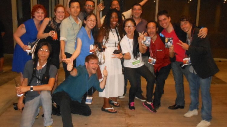 K Web Fest networking after-party! Young Man Kang with Festival Guests and K Web Fest Staff, Seoul, Korea © Globetrot Productions 2015.