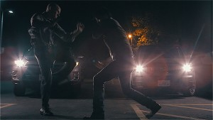 A fight sequence in THE ROLLING SOLDIER.