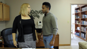 L-R: Dionne Williford as Katherine, and Nicholas Pontrelli as Danny, in the new crime drama MAINTAIN.