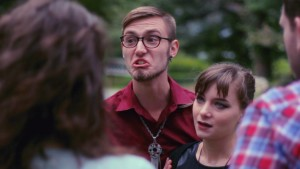 L-R: Jake Bee (as Angelo) and Natalie Kropf (as Jade) in the new comedy series THE SHADES.