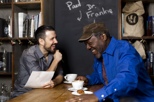STAY REGULAR host/producer Paul Schlader, in conversation with actor Frankie Faison.