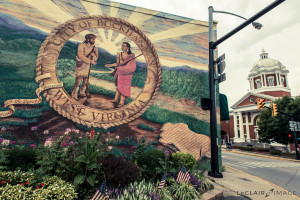 A mural, dedicated to the city of Buckhannon, West Virginia, the setting for the drama/mystery series MUCK.
