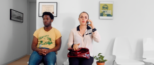 L-R: Eddie (Chinaza Uche, PRODUCING JULIET) and Michelle (Alice Kremelberg) play one of four couples who attempt to seek guidance for their relationship issues in the new drama WORKING ON IT.