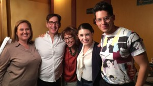 "Stan Zimmerman (second from left) with the ""secs"" from SECS AND EXECS. L-R: Bayne Gibby, Mindy Sterling, Daniela Bobadilla and Miguel Pinzon."