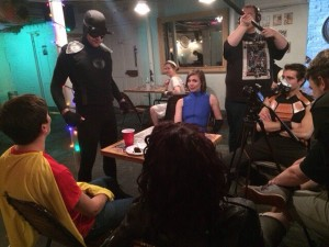 The cast and crew of THE ADVENTURES OF HOT HEAD, hard at work during production of its third episode.