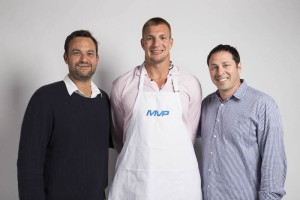 "L-R: Jamie Patricof, New England Patriots Super Bowl champion Rob Gronkowski (a.k.a. ""Gronk""), and Russ Axelrod."