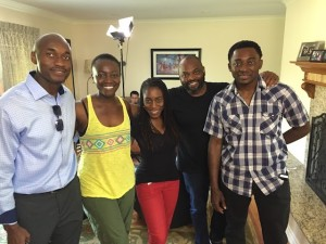 L-R: CON$EQUENCES' co-stars Tony Tambi, Constance Ejuma, plus director Sade Oyinade, associate producer Francis Onelum and co-star/director Bambadjan Bamba. Photo courtesy Michelle Darkoh.