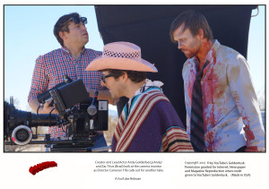 Behind the scenes of BAD TIMING. L-R: Director Cameron Fife, actor/creator Andy Goldenberg (behind the camera), and actor Zac Titus. Photo courtesy Goldentusk.