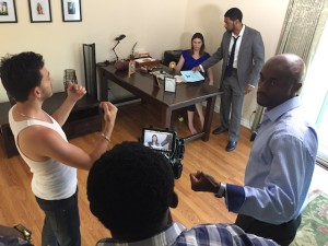 On the set of CON$EQUENCES. L-R (foreground): Director of Photography Sebastien Ricci, series co-star/director Bambadjan Bamba and creator/star Tony Tambi. BG (L-R): Series co-stars Samantha Stewart and Jarvis George.