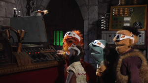 """""""What's this thingy do?"""" L-R: TVTV characters B.O.R.I.S., Furry, Batfink, LeShoc and Dwayne Frankenstein find out in the show's fifth episode, """"The Night of the Thingy""""."""
